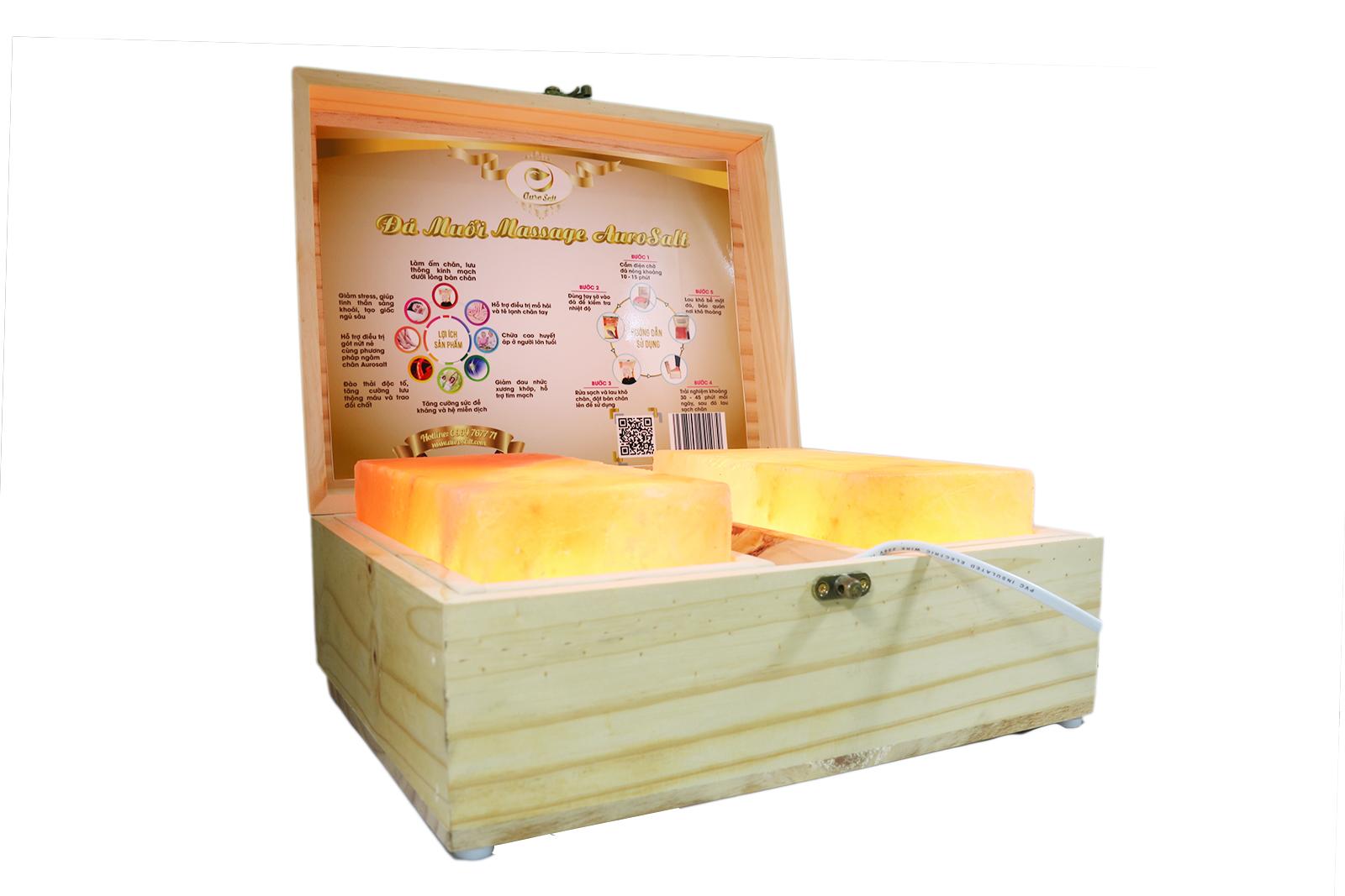 Hộp Đá Himalaya Massage Chân Aurosalt  - 2 Viên Phẳng